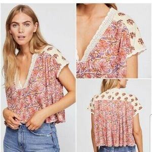 New W/Tag Free People Leilani Blouse Tea Combo Med